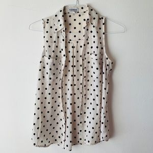 Express Off-White Black PolkaDot Sleeveless Blouse